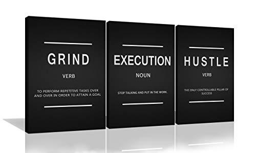 3 Pieces Grind Verb Hustle Verb Execution Noun Motivational Wall Art Canvas Print Office Decor Inspiring Framed Prints…