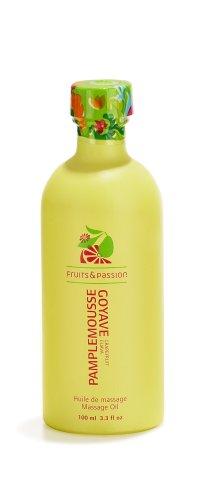 Fruits & Passion Fruity Massage Oil, Grapefruit Guava, 3.3-Ounce Bottle