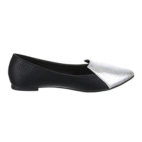 Ital-Design Damen Schuhe, M-45, Halbschuhe Schlangen Optik Schwarz Silber