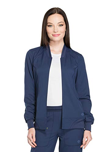 (Dickies Dynamix DK330 Women's Zip Front Warm-Up Solid Scrub Jacket)