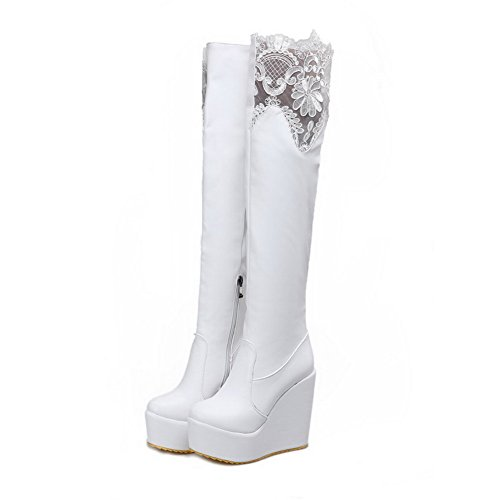 with and Wedge Boots Women's Zippers High Toe Round Closed AmoonyFashion Toe Heels White 8SqvPw