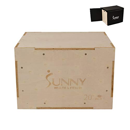 Sunny Health Fitness Wood Plyo Box with Removable Foam Cover, 500lb Weight Capacity and 3 in 1 Height Adjustment – 30 24 20 for Crossfit Training and Plyometric Conditioning