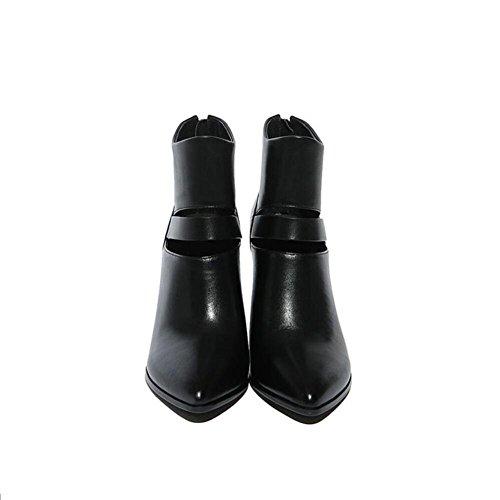 Hollow suggerimento con donna un manuale lavoratore di tacco bene ultima moda breve stivali in vera pelle , 38