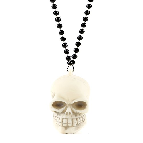 Fun Central BC719, 1 Pc, 35 inches Multicolor LED Skull Necklace with Black Beads, LED Light Necklace, LED Light up Necklace
