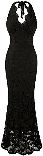 long black halter evening dress - 7