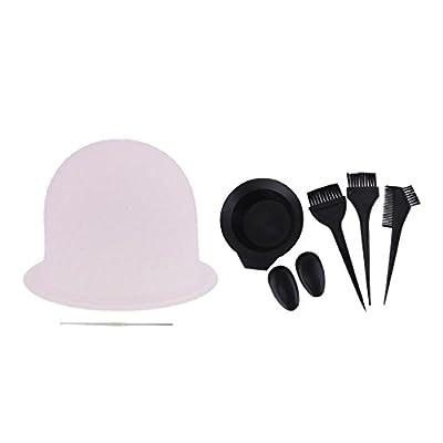 MagiDeal Salon Hair Coloring Dyeing Kit Dye Brush Comb Mixing Bowl Tint Bleach Tool + Reusable Hair Highlighting Cap Metal Hook
