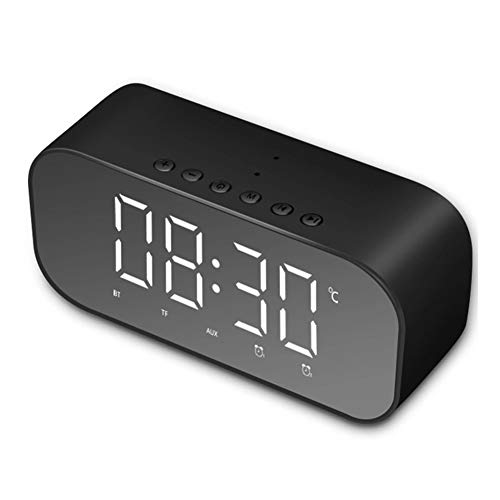 FRUZAZ Three-in-one Alarm Clock Gift Fashion Creative Multifunctional Portable Mirror TF AUX Mode Bluetooth Speaker (Mirror + Aalarm Clock + Bluetooth Speaker),Black (Creative Digital Case Player)