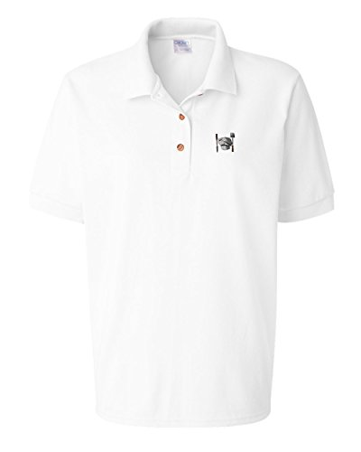 Speedy Pros Chef Set Utensil Embroidery Women Adult Button-End Spread Short Sleeve Cotton Polo Shirt Golf Shirt - White, 3X Large