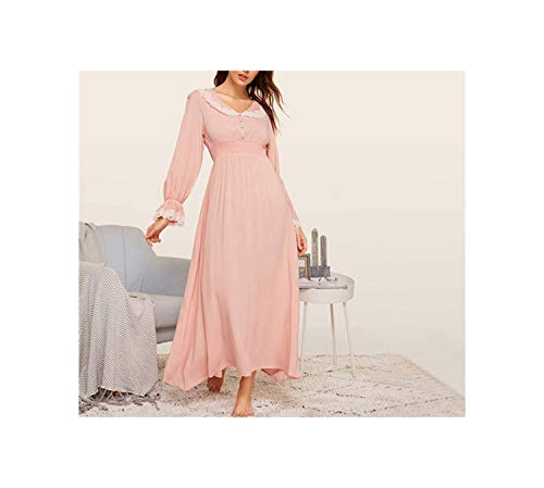 Lady Pink Shirred Panel Lace Trim Bell Sleeve Nightgown Spring Solid Long Sleeve Maxi Night Dress,Roze,M