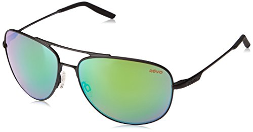 Revo Windspeed RE 3087 01 GN Polarized Aviator Sunglasses, Matte Black/Green Water, 61 - Aviator Power With Sunglasses