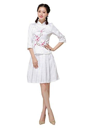 YueLian Mujeres Estilo Chino Retro Manga Corta Diseño Ciruela Roja Cheongsam Estampado Qipao Blanco