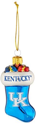 NCAA Kentucky Wildcats Molded Stocking Glass Ornament, Small, Blue (Wildcats Ncaa Christmas Stocking)