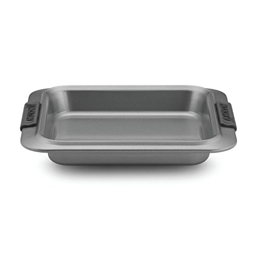 Anolon Advanced Nonstick Bakeware 9-Inch Square Cake Pan, Gray with Silicone Grips (Silicone Cookie Sheet Anolon)