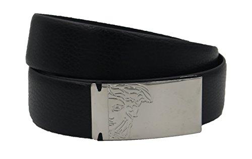 VERSACE COLLECTION Men's Black Pebbled Leather Gunmetal Medusa Buckle Belt 158 (105)
