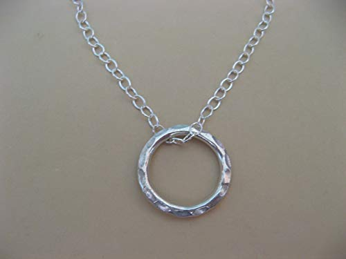 Sterling Silver Hammered Ring Necklace Circle of Life Boho Artisan Jewelry