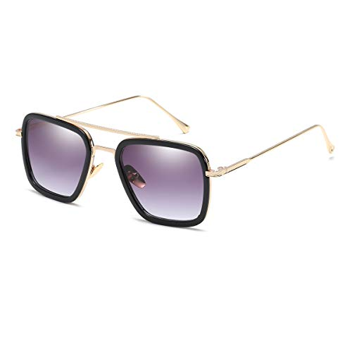 Vintage Aviator Square Sunglasses for Men Women Gold