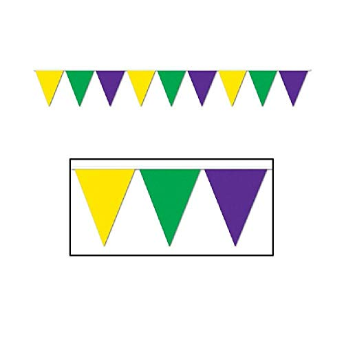 Mardi Gras Pennant Banner - Bargain World Mardi Gras Pennant Banner, 12 ft (with Sticky Notes)