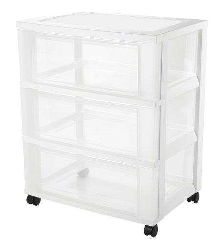 IRIS Wide 3-Drawer Cart, White