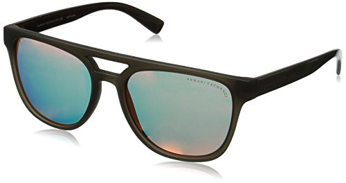 Armani Exchange Men's Injected Man Square Sunglasses, Army Matte Transparent/Army Pump, 55 - Glasses Army Prescription
