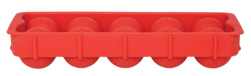 HIC Harold Import Co. 43737 Cannonball Ice Ball Tray, Non-Stick, European-Grade Silicone, For Ice, Candy and Baking, Red