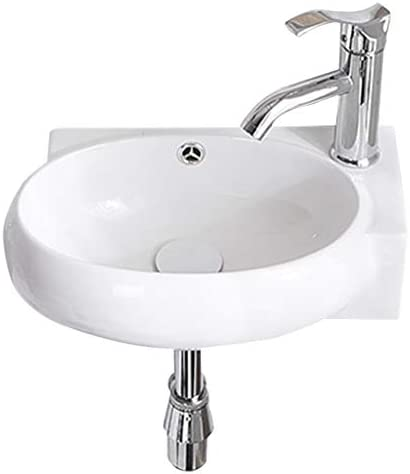 シンク周り用品 バスルームのシンクオーバルホワイト盆地壁掛け洗面台バルコニーバスルームセラミックシンプルシンク (Color : B, Size : 43*28.5*12.5cm)
