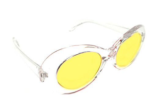 WebDeals - Oval Round Retro Sunglasses Color Tint or Smoke Lenses Clout Goggles (Clear, - Cobain Kurt Glasses Yellow