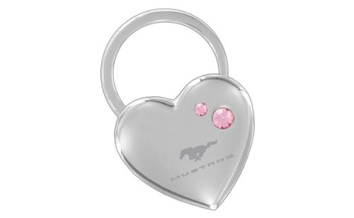 Ford Mustang Heart Shape Keychain 2 Pink Crystals Key Chain
