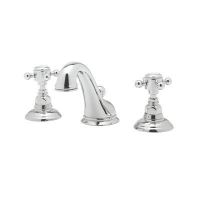 Rohl A1408LCPN-2 Country Bath Viaggio Widespread Lavatory Faucet with Crystal Levers Pop-Up and C Spout, Polished Nickel by Rohl