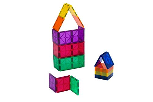(Playmags 30 Piece Squares Set: Now with Stronger Magnets, Sturdy, Super Durable with Vivid Clear Color Tiles)