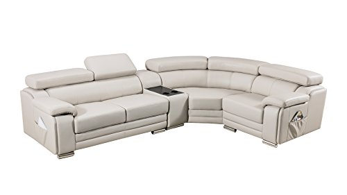 - American Eagle Furniture Daphne Collection Modern Top Grain Leather Sectional Sofa With Chaise on Right, Adjustable Headrests, Light Gray