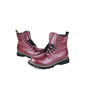 Men's Lace Up Casual Shoes Genuine Leather Ankle Martin Boots(Red Lable 38/5.5 D(M) US Men)