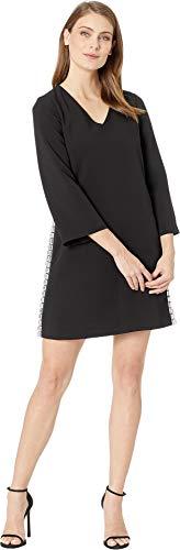 Tahari ASL Women's Bell Sleeve V-Neck Crepe Dress Black 16