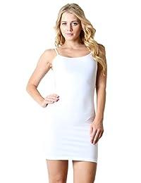 ZENANA SLEEVELESS SCOOP NECK CAMI SHORT MONI BODYCON DRESS LARGE WHITE