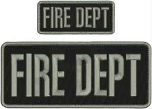 FIRE DEPT Embroidery Patch 4X10 & 2X5 Hook ON Back BLK/Gray by HighQ Store (Dept Embroidery Fire)