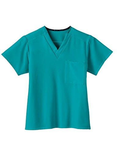Jockey Scrubs Classic Fit Collection by Jockey Unisex 1 Pocket Tri Blend Solid Scrub Top Medium Teal - Unisex Fashion Blend
