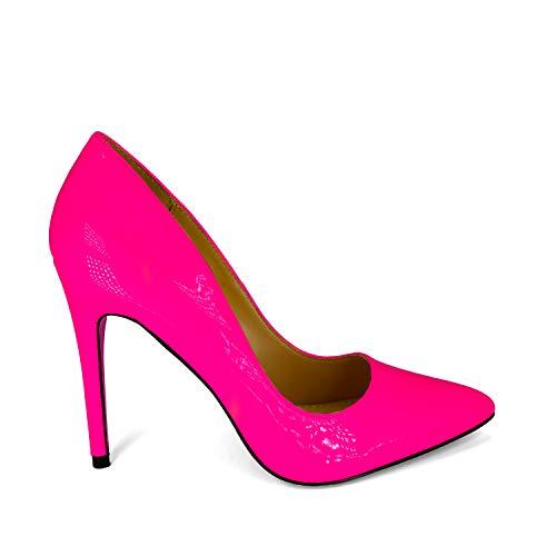 Anne Michelle Women's Plain Pointy-Toe Dress Heel Pump (7.5, Neon Pink)