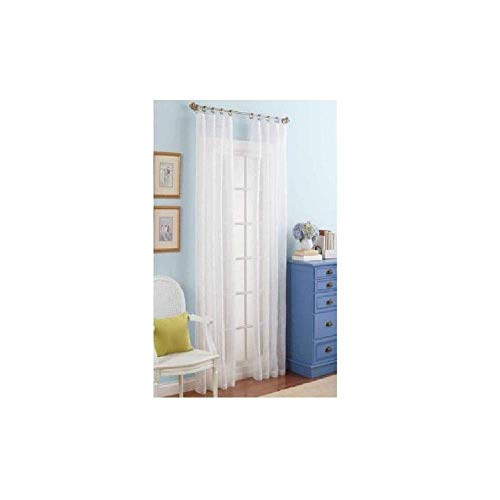 Better Homes and Gardens White Embroidered Sheer Curtain Panel, 84