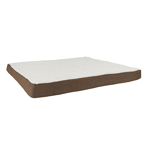PETMAKER Orthopedic Sherpa Top Pet Bed with Memory Foam and Removeble Cover 44x35x4.75 Brown