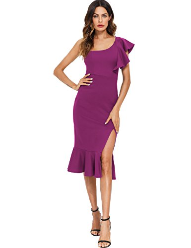 (Floerns Women's Ruffle One Shoulder Split Midi Party Bodycon Dress Purple M)