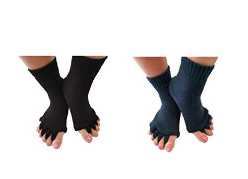 Toe Separator Yoga Gym Sports Massage Socks for Foot Alignment, Great for Sore Feet and Diabetics by TRiiM Fitness with FREE Exercise guide! (BlackGray)