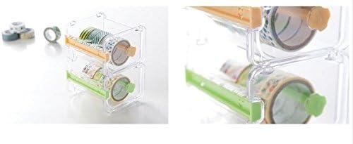 Tape Storage Box Double Zigzag Office//School//Family Tape Separator excluding Tape Leoyoubei Transparent Desktop Tape Machine Tape Cutting Machine