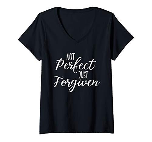 - Womens Not Perfect Just Forgiven Shirt Bold Christian Jesus Tee V-Neck T-Shirt