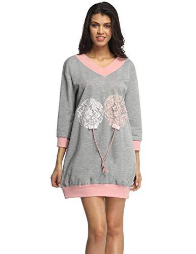 Col Manches Élégant Automne Classique Laisla Sweatshirt À Grau En Dentelle Longues V Femmes Lâche Mode Design wYxqOExa
