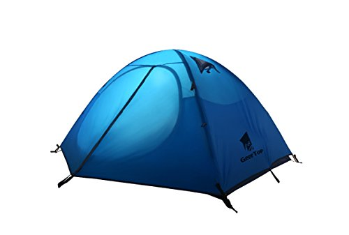 GEERTOP 3-4 Season Tent for Camping 2-3 Person Double Layer Lightweight Backpacking Freestanding Outdoor Hiking Waterproof Backpack Tents - Easy to Set Up 2 【Large Space】Tent size is 83(L) x 71(W) x 47.2(H), with extral vestibule to put the camping gears, luggage; it is a roomy camping travel dome tent with plenty of space for you and a family member or friends; Providing a comfortable and spacious outdoor shelter that comfortably fits 2 man or 3 person 【Waterproof Tent】Geertop 3 season tent - 210D PU5000 mm waterproof Oxford cloth ripstop floor + 210T PU3000 mm anti-tear plaid polyester tent fly while double-sided adhesive waterproof strip seam, ensure water does not make its way into the inside of tent , offer a comfortable camping experience 【Excellent Ventilation 】The camping inner tent made of 210T breathable polyester + high density fine nylon mesh with 2 doors + 2 ventilation windows + 2 vestibule, allowing for greater airflow throughout the tent, avoiding bothered by stuffiness