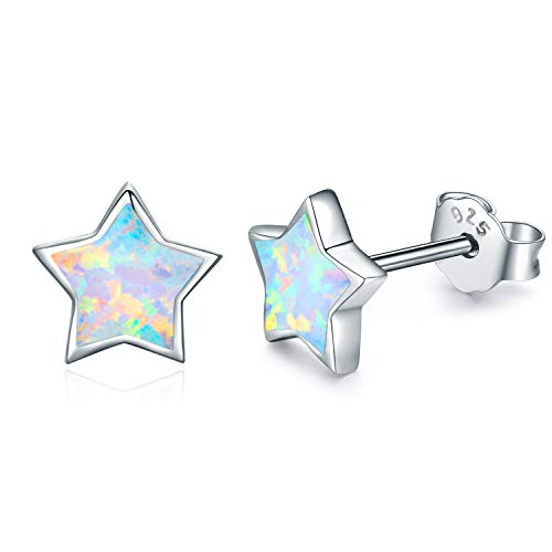Hypoallergenic Earrings Synthetic Opal Star Stud Earrings Tiny Small Earrings Gifts for Women Earrings Sterling Silver Minimalist Jewelry for Sensitive Ears (opal star earrings)
