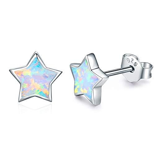 (CUOKA MIRACLE Hypoallergenic Earrings Simulated Opal Star Stud Earrings Small Earrings Jewelry for Women Baby Girls Toddler Earrings Sterling Silver Jewelry for Sensitive Ears)