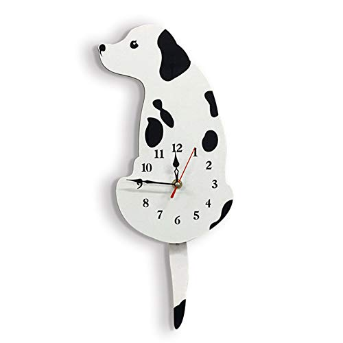 AINGOL Wall Clock,Wagging Tail Creative Dog Acrylic Dog Wall Clock Bedroom Wall Decoration Unique Gift Creative Cartoon Mute DIY Clock for Living Room Kids Room,2