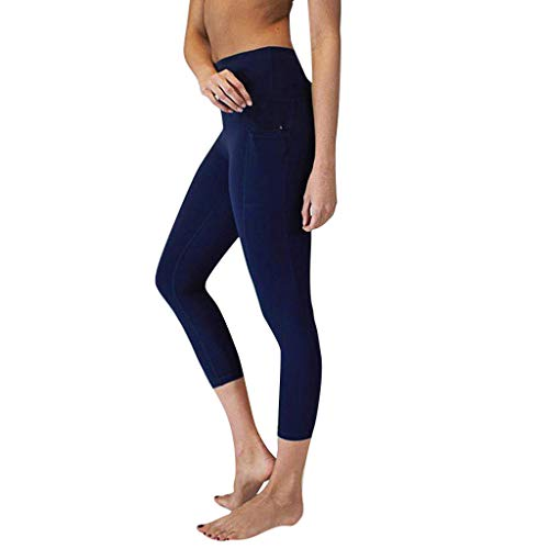 TIANMI Fit Compression Yoga Pants, Power Stretch Workout Leggings with High Waist Tummy Control Blue