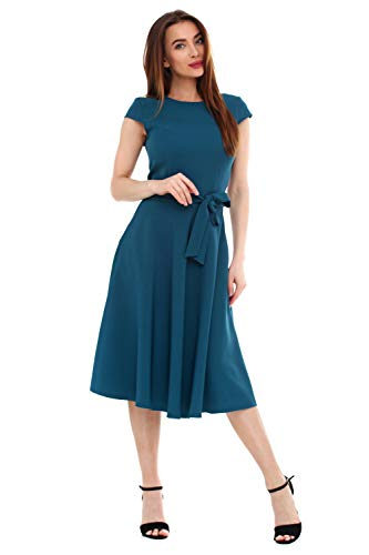 (LadyLike Womens Short Cap Sleeve Classic Modest A-Line Belted Crewneck Work Office Dress (Green, X-Small/US 0-2))