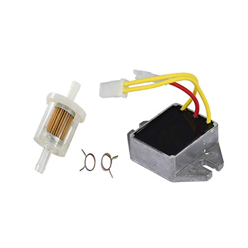 Podoy 845907 Voltage Regulator Compatible with for Briggs Stratton 394890 393374 691185 797375 797182 845907 with 691035 Fuel Filter A175 z245 MIU12514 LG6911 ()